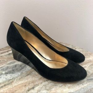 Antonio Melani size 8.5 Black suede wedges